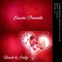 罗蔓蒂克粉红花瓣爱心婚庆视频模板