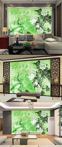 中国风玉雕牡丹花孔雀电视客厅背景墙