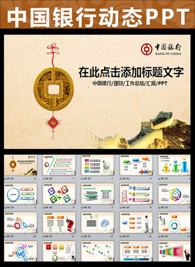 中国银行金融理财工作汇报PPT模板