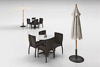 椅子桌子遮阳伞组合3D模型+贴图