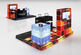 彩炫時尚展臺展柜3D模型+材質貼圖