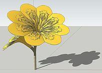 金色喇叭花景观SU模型