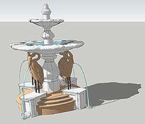 仙鹤喷水景观SU模型