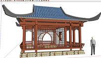 中式古建亭子廊架SU模型