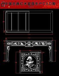 博古纹画案红木家具生产CAD图纸