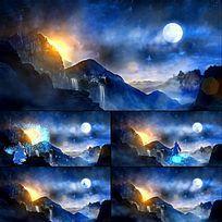 梦幻舞台LED背景仙人奔月视频背景