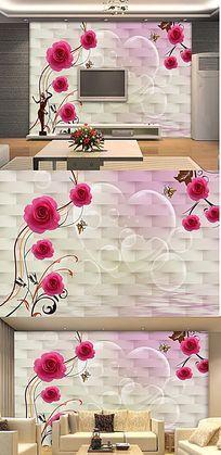 玫瑰倒影3D软包背景墙