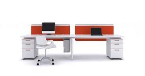 职员工作位办公桌3d模型