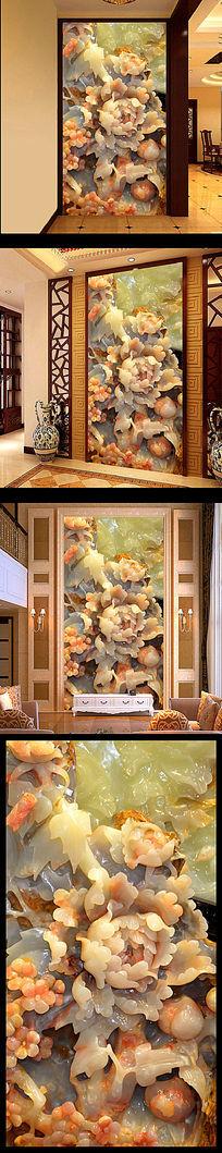 家和富贵玉雕牡丹玄关壁画背景墙