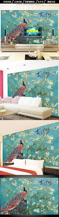 手绘花鸟画油画中式客厅电视背景墙