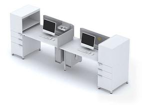 职员工作位桌上屏3D模型