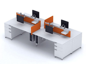 职员工作位桌上屏3D模型素材