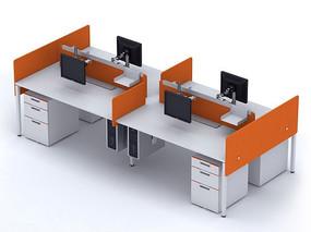 职员工作位桌上屏3D模型下载