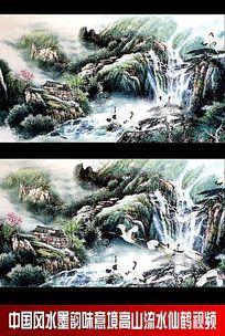 中国风水墨韵味意境高山流仙鹤视频(需自己渲染)