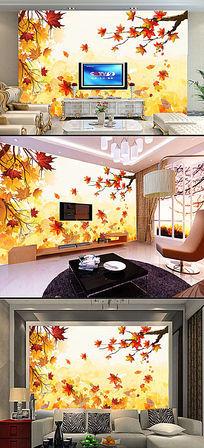 秋天色彩浪漫枫叶电视客厅背景墙