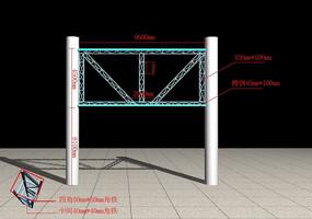 三面翻钢构广告架3d模型