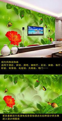 3D立体绿叶电视背景墙装饰画