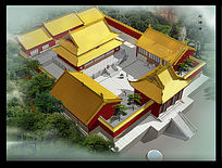 寺庙鸟瞰图psd分层