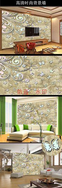花藤蝴蝶艺术墙纸欧式底纹蝴蝶客厅背景墙