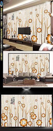 中国风浮雕梅花背景电视墙