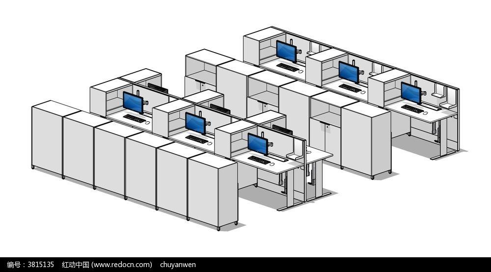 职员工作位草图大师skp模型图片