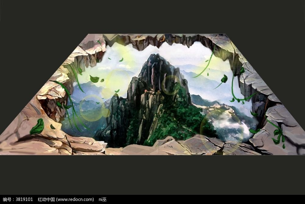 山顶3d地贴画图片
