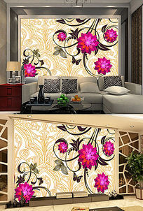 抽象菊花线条花欧式底纹电视客厅背景墙