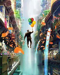 气球穿越3d立体画
