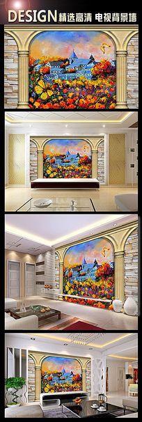 蝴蝶飞舞花间油画背景墙