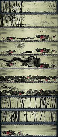 中国水墨画卷视频背景素材