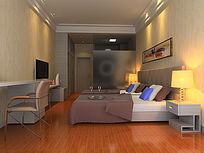 3D酒店双人房模型和效果图