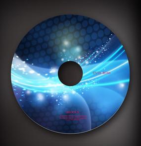 蓝色炫光cd光盘盘面设计