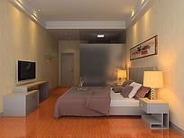 中性色酒店双人房3D模型和效果图