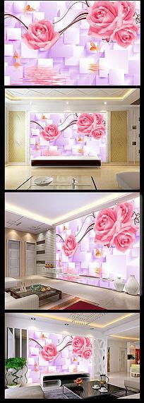 梦幻花朵粉色背景墙