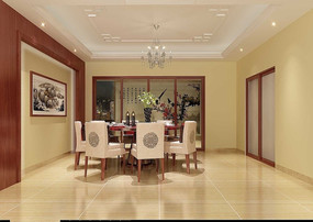 简中餐厅3D模型和效果图