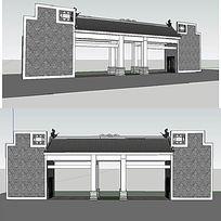 景区中式门sketchup草图大师模型