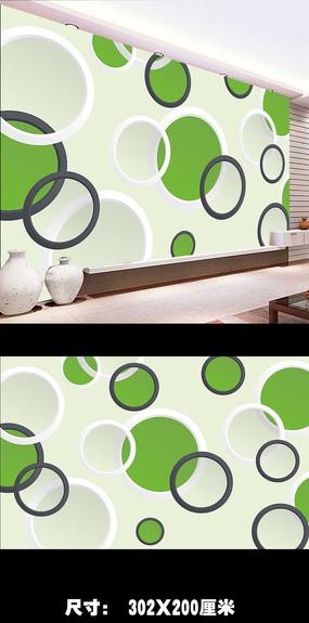 3D立体圆圈时尚电视背景墙图片下载