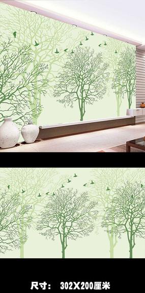 树林飞鸟3D立体圆圈电视背景墙图片下载