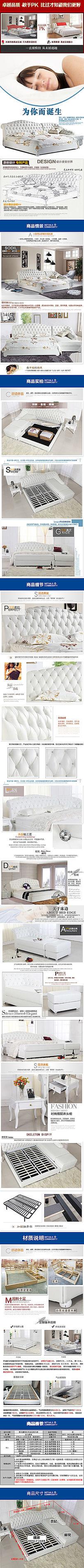 淘宝欧式双人床详情页细节展示模板