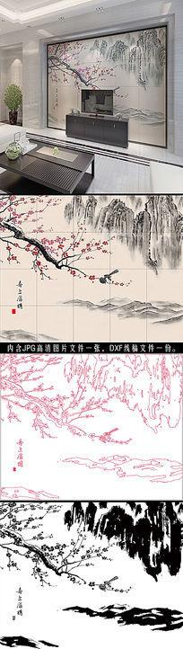 喜上眉梢中式瓷砖背景墙路径文件