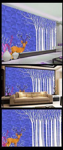 卡通动物花纹背景墙