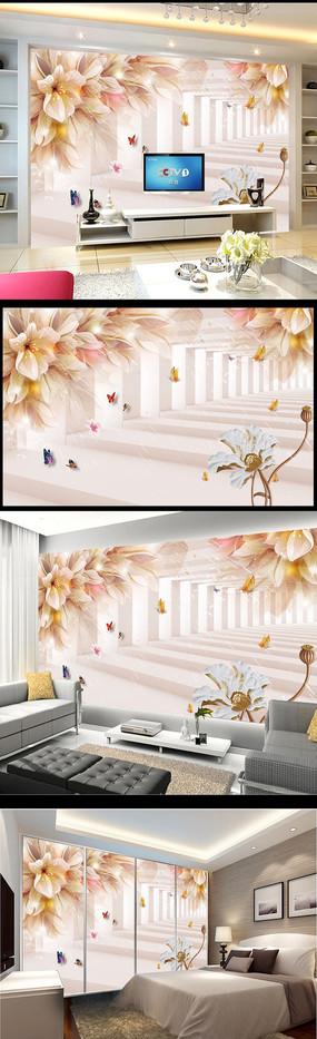 3D立体梦幻花朵电视背景墙