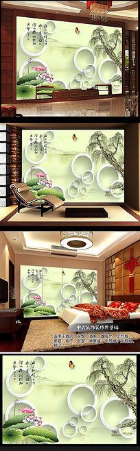 烟雨江南3D立体瓷砖背景墙