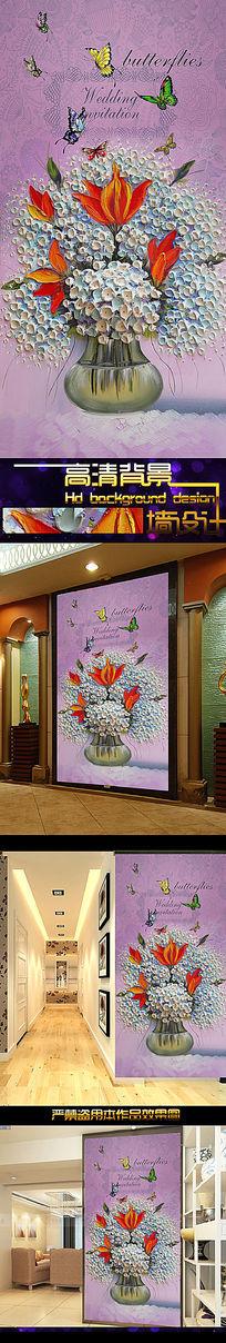 纯手绘花卉立体刀笔油画紫色玄关