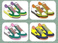 外贸休闲运动鞋设计矢量手稿 板鞋 流行运动鞋样与配色