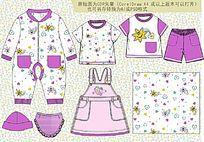 婴童连体衣 可爱童装款式矢量手稿