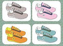 运动鞋设计矢量手稿与配色