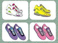 运动鞋设计与配色  休闲球鞋设计稿 平面矢量图