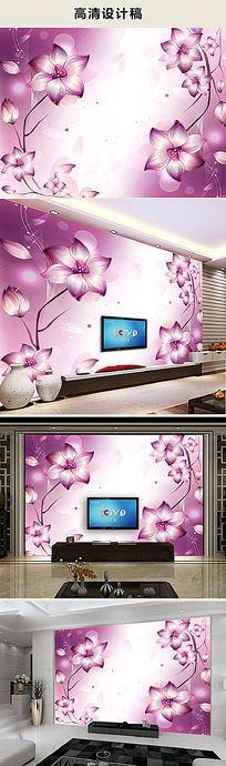 梦幻花卉电视背景墙壁画图片
