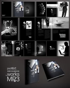 黑白简约企业画册设计 PSD